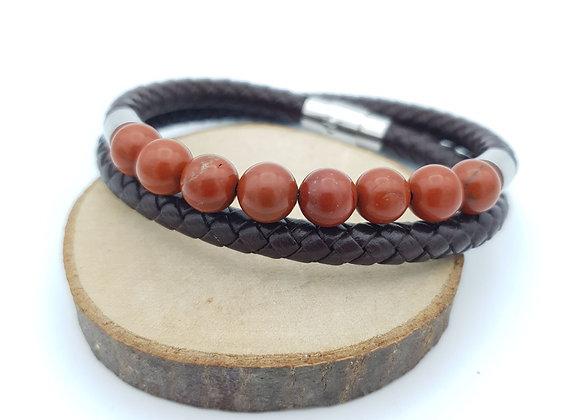 Bracelet Cuir Jaspe rouge