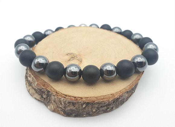 Bracelet hématite et onyx