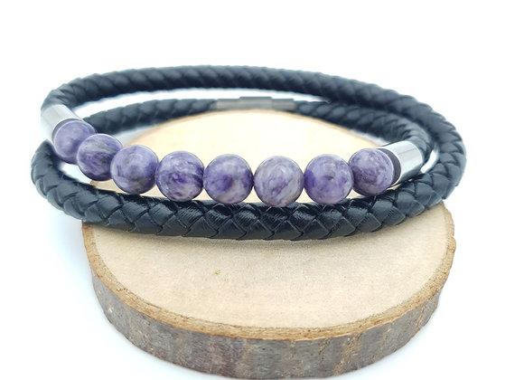 Bracelet Cuir Charoite