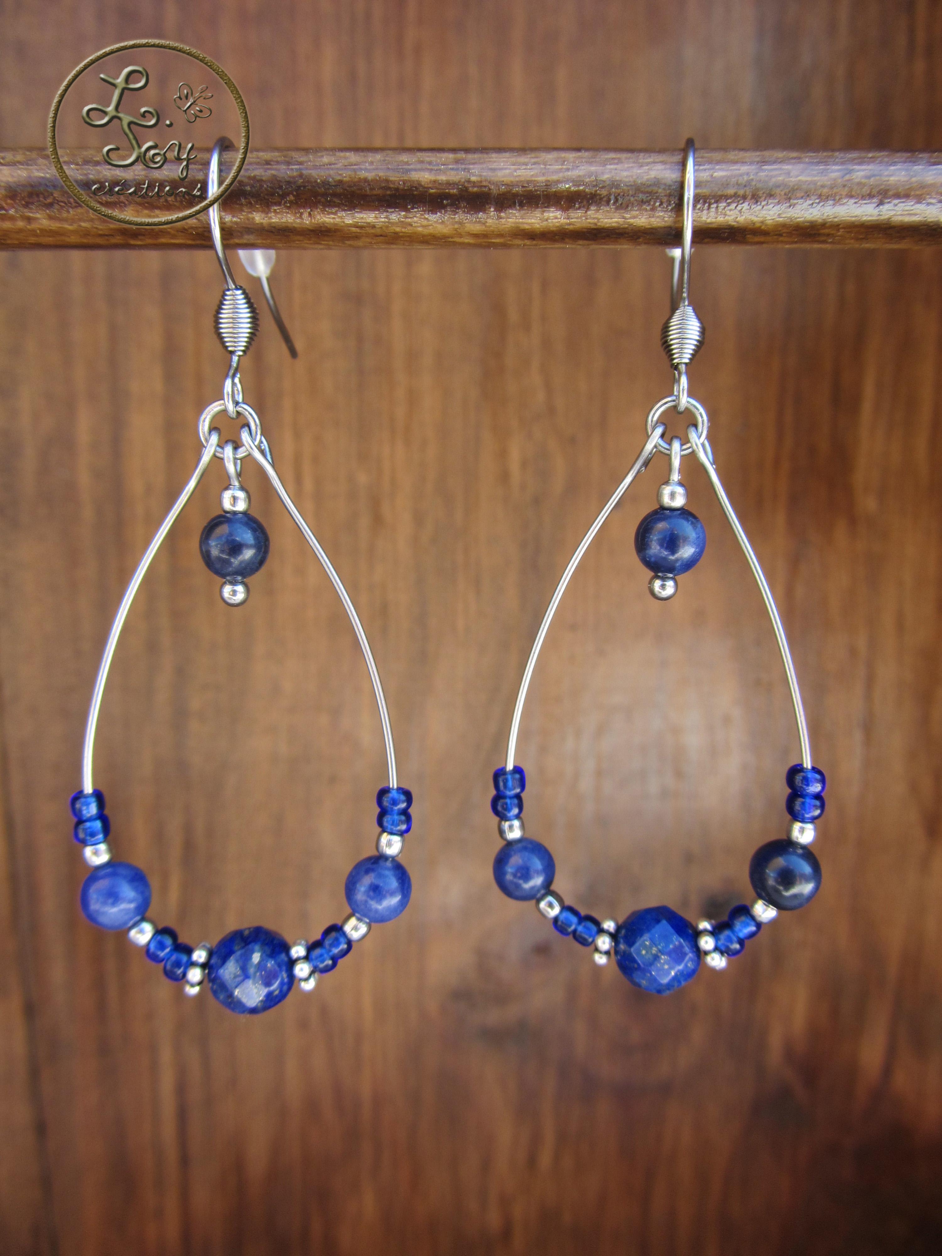 Boucles goutte lapis lazuli