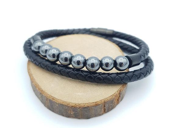 Bracelet cuir Hématite