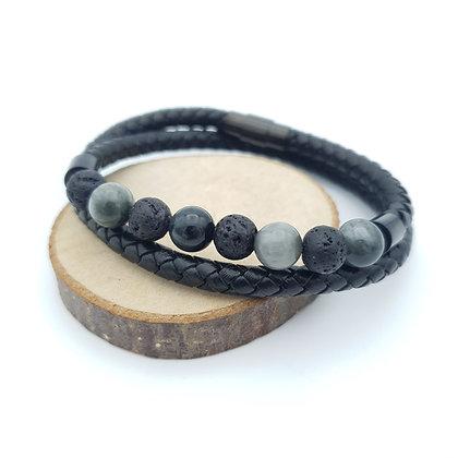 Bracelet Cuir pierre de lave/œil de chat