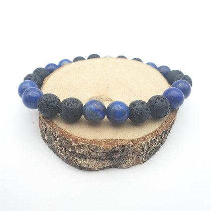 Bracelet Lapis lazuli et pierre de lave