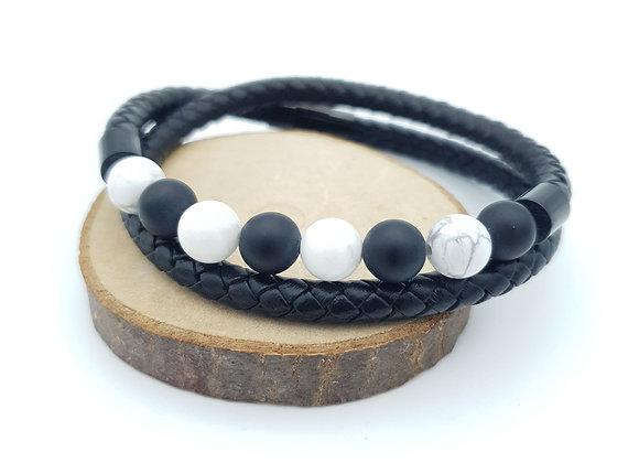 Bracelet Cuir Onyx mat/howlite
