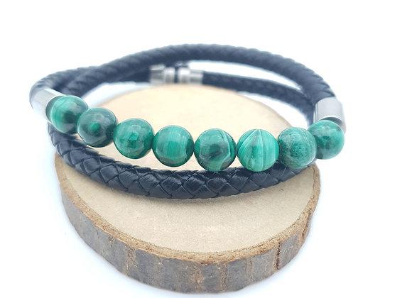 Bracelet Cuir Malachite