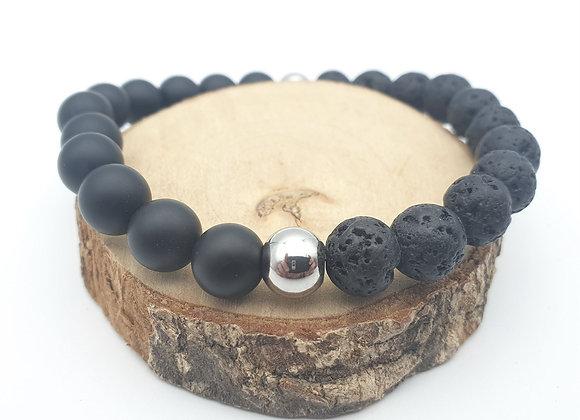 Bracelet Pierre de lave et onyx
