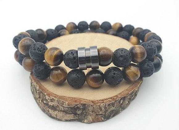 Bracelet Œil du tigre et pierre de lave