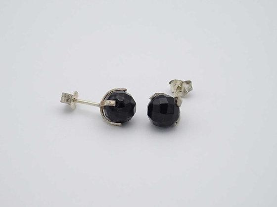 Boucles d'oreilles obsidienne noir