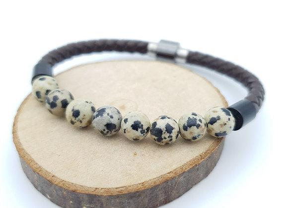 Bracelet Cuir Jaspe dalmatien