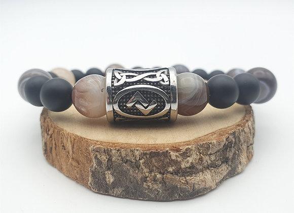 Bracelet agate Botswana, onyx et rune Jara