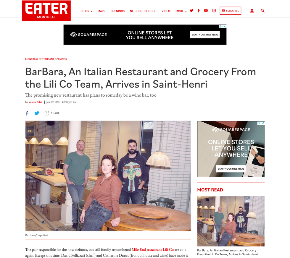 EATER Montréal - BarBara, An Italian Restaurant and Grocery From the Lili Co Team, Arrives in Saint-Henri
