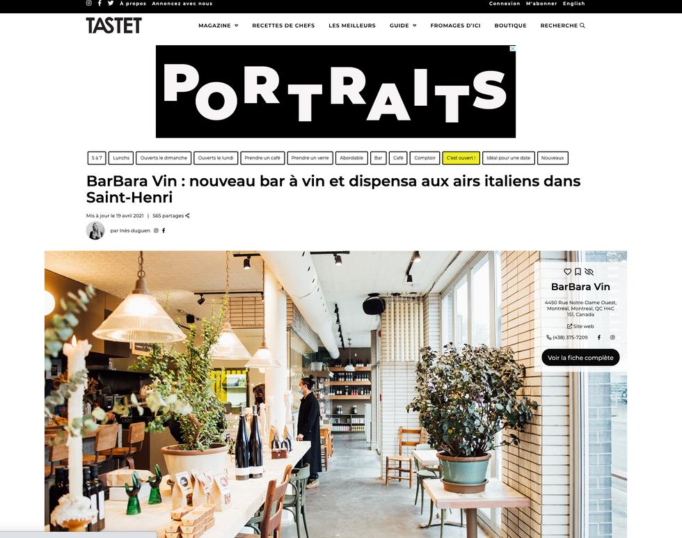 Tastet: Nouveau bar à vin et dispensa aux airs italiens dans Saint-Henri