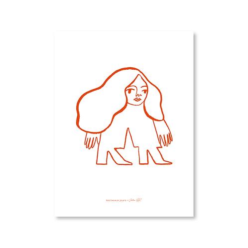 Affiche Femme, encre orangée