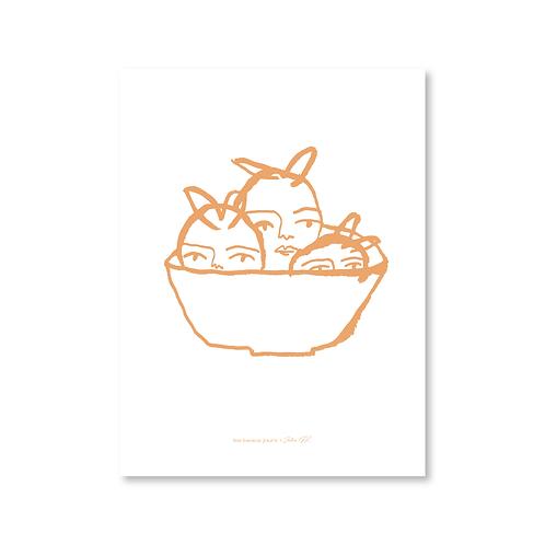 Affiche Fruits, encre pêche