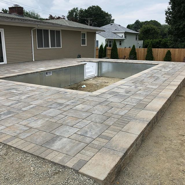 Project completed! _unilock pool deck wi