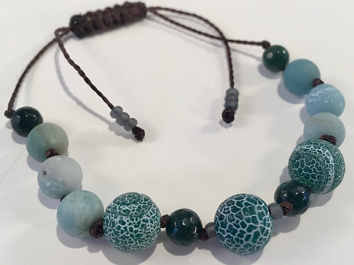 Matte Green Crackle Agate Therapy Bracelet w/Amazonite