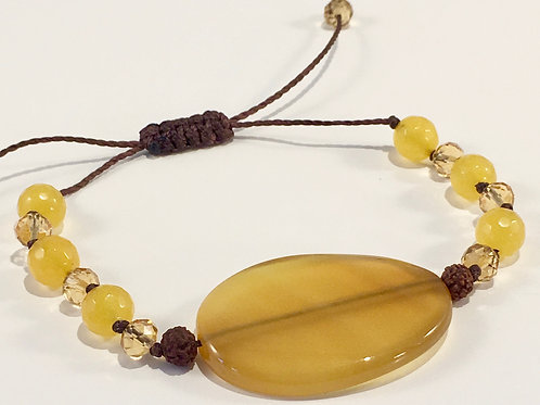 Yellow Jade Therapy Bracelet w/Mala Beads & Crystals