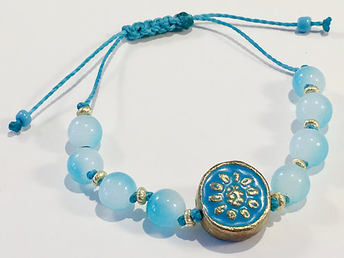 Round Blue Flower Therapy Bracelet