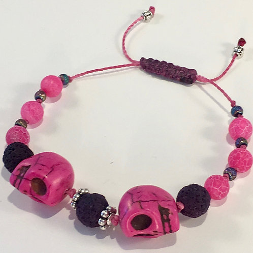 Pink Turquoise Skull Therapy Bracelet w/Black Lava Rock, & Pink Agate