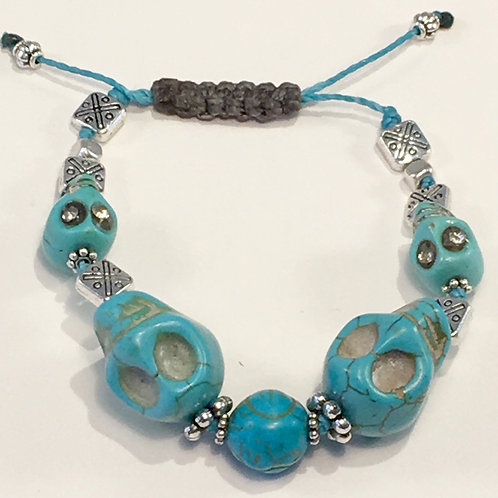 Turquoise Skull Therapy Bracelet