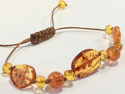 Three Piece Baltic Amber & Crystal Therapy Bracelet