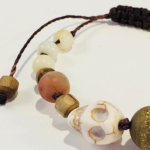 Turquoise Skull Therapy Bracelet w/Druzy Agate & Amazonite