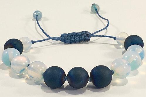 Moonstone Opal Therapy Bracelet w/Blue Druzy Agate