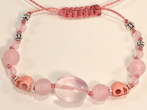Pink Fire Agate Therapy Bracelet w/Pink Jade, Turquoise Skulls & Rose Quartz
