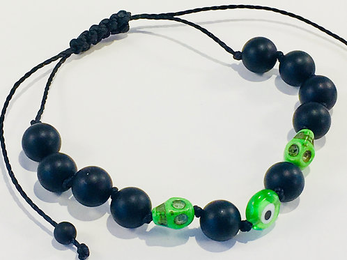 Green Eye of Protection Therapy Bracelet w/Turquoise & Lava Rock