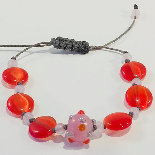 Orange Calcite Therapy Bracelet w/Rose Quartz & Hand Blown Glass Bead.