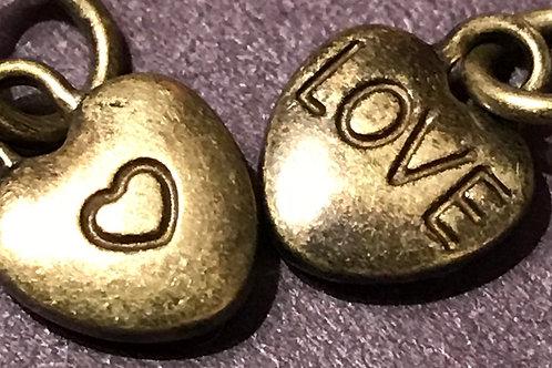 Brass Tone Little Love Charm