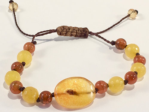Yellow Quartz Therapy Bracelet w/Yellow Jade.