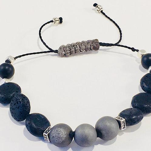 Silver Druzy Agate Therapy Bracelet w/Lava Rock Coins