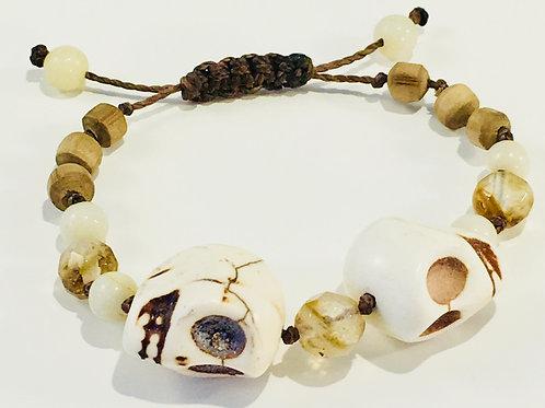 Turquoise Skull Therapy Bracelet w/Smoky Topaz & Wood