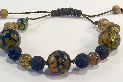 Dragon Jasper Therapy Bracelet w/Lava Rock & Fire Agate