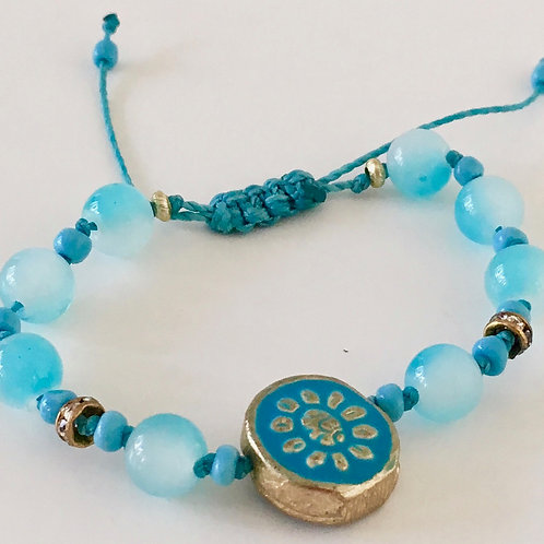 Round Blue Flower Therapy Bracelet w/Turquoise