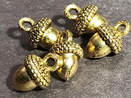 Antique Gold Acorn Charm