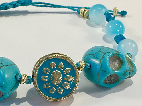 Two Large Turquoise Skulls & Flower Therapy Bracelet