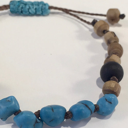 Turquoise, Lava Rock & Wood Bead Therapy Bracelet