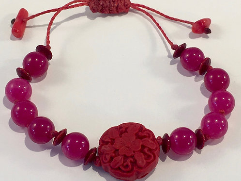 Pink Jade Therapy Bracelet w/Red Coral Rosette.
