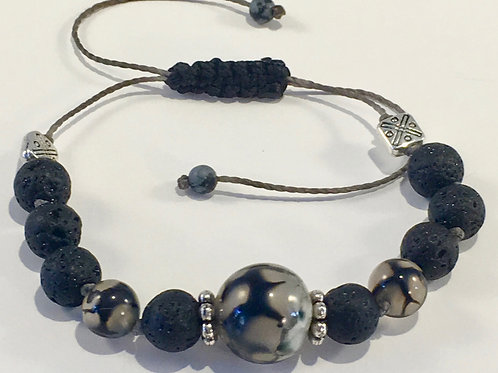 Dragon Agate Therapy Bracelet w/Lava Rock