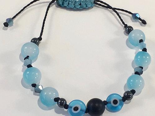 Blue Evil Eye of Protection Therapy Bracelet w/Lava Stone