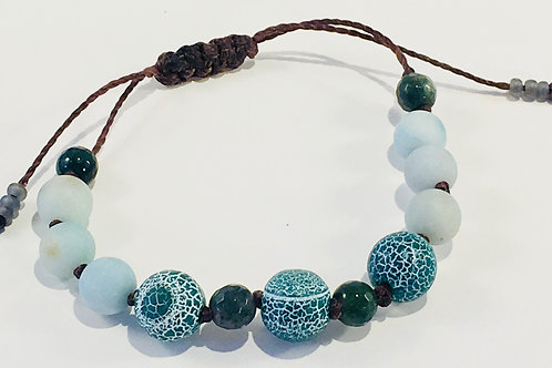 Matte Crackle Agate Therapy Bracelet w/Amazonite