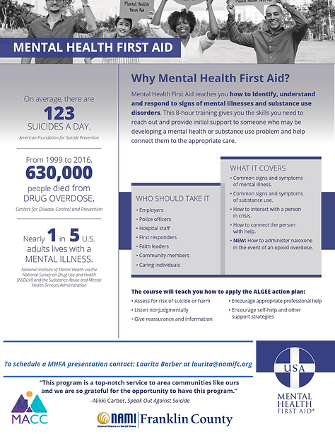 Mental Health First Aid - One Pager NAMI