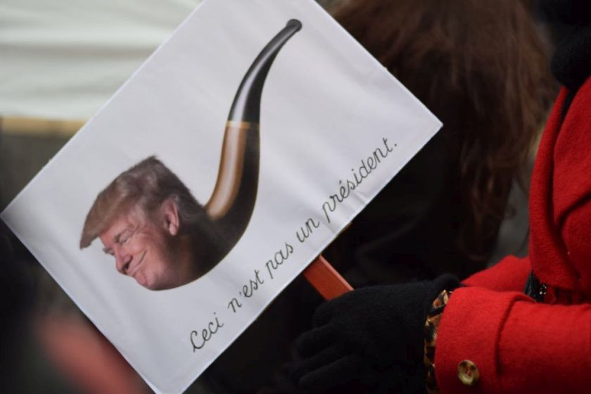 A placard in protest of Donald Trump's appointment as president of the United States is seen during during the Barcelona Women's March. — Picture courtesy of Irene Boering