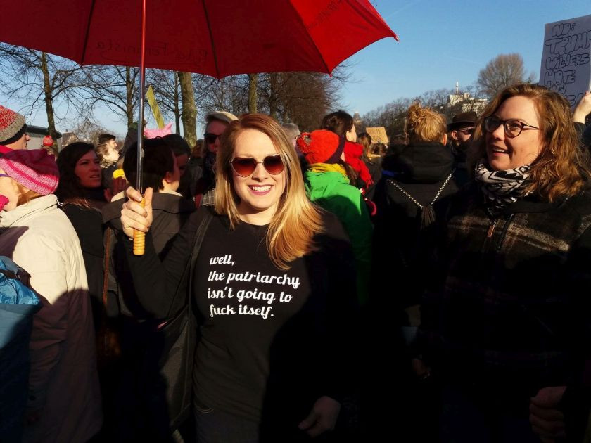 A woman is pictured protesting against Donald Trump during the Amsterdam Women's March. — Picture courtesy of Penny Vegter - See more at: http://www.themalaymailonline.com/opinion/helen-hickey/article/womens-march-millions-unite-against-trump-and-all-he-stands-for#sthash.B6lZ5zIz.dpuf