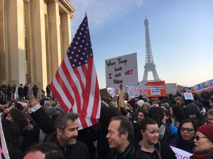 People are pictured protesting against Donald Trump during the Paris Women's March. — Picture courtesy of Julia - See more at: http://www.themalaymailonline.com/opinion/helen-hickey/article/womens-march-millions-unite-against-trump-and-all-he-stands-for#sthash.B6lZ5zIz.dpuf