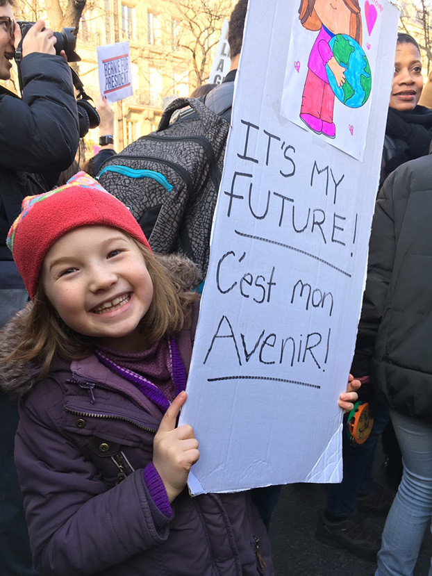 """People are pictured protesting against Donald Trump during the Paris Women's March. — Picture courtesy of JuliaMy American friend Michelle marched with her daughters, aged 11 years and 14 months, and another American mother and her daughters.  """"I felt it was important to make my opposition to Trump and my unwavering support for progressive politics visible."""" She also wanted her children to realise they are part of a body politic, """"To know that you have to speak up for what you believe in.""""  Michelle's poster read: """"Women's Rights are Human Rights"""" and on the reverse """"Not My President."""" Her gorgeous 14-month-old daughter - See more at: http://www.themalaymailonline.com/opinion/helen-hickey/article/womens-march-millions-unite-against-trump-and-all-he-stands-for#sthash.B6lZ5zIz.dpuf"""