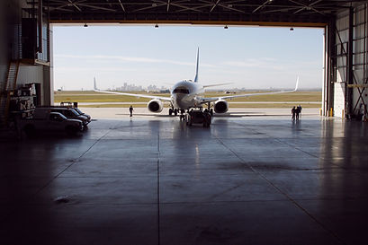 Aircraft in hanger