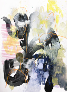Acrylic, Pencil Crayon, Chine-Colle on Loose Canvas